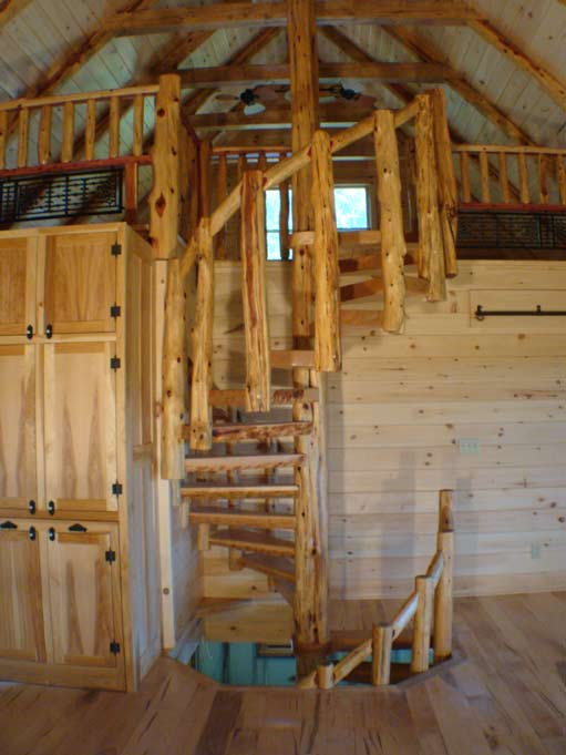 Cherry and cedar spiral stairs 2 for Two story spiral staircase