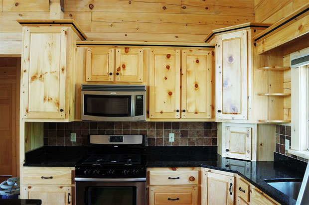 Hand crafted solid pine kitchen cabinets mitrick for Pine kitchen cabinets